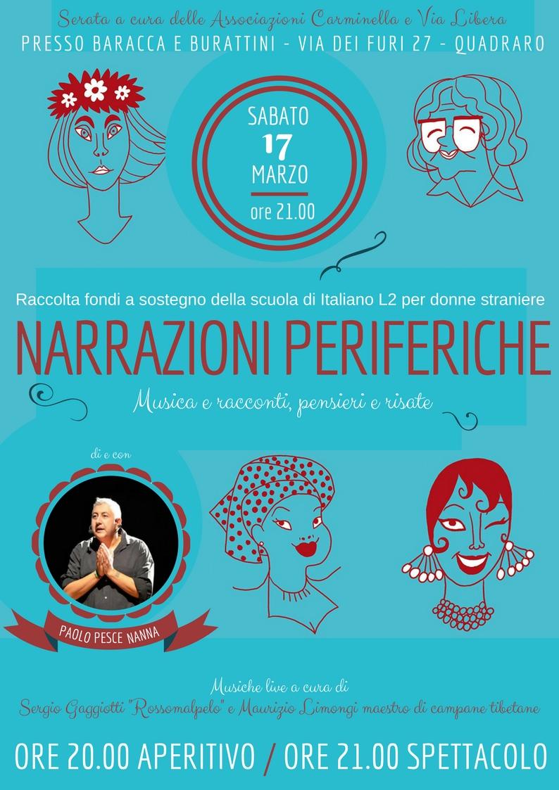 NARRAZIONI PERIFERICHE Musica e racconti, pensieri e risate. Serata a sostegno della scuola di italiano L2 per donne straniere