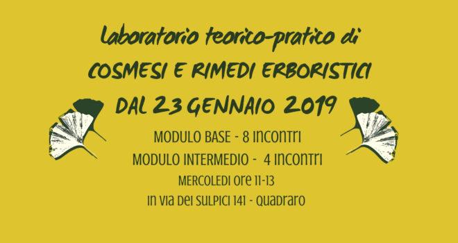 Corso di cosmesi e rimedi erboristici – base + intermedio dal 23 gennaio 2019